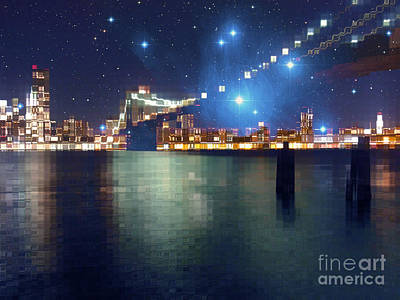 Gradations Digital Art - Glass Block Brooklyn Bridge Among The Stars by Beverly Claire Kaiya
