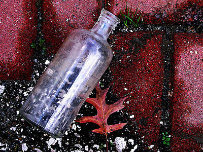 Life Is Beautiful Photograph - Glass Bottle And  Bricks by Colleen Kammerer