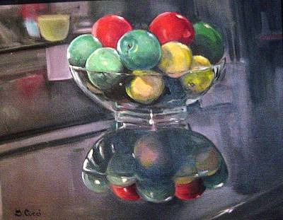 Still Life With Green Apples Painting - Glass Bowl With Fruit by Dorothy Siclare