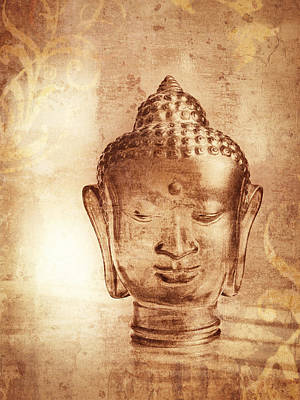 Digitized Image Photograph - Glass Buddha Head # 2 by Stuart Brown