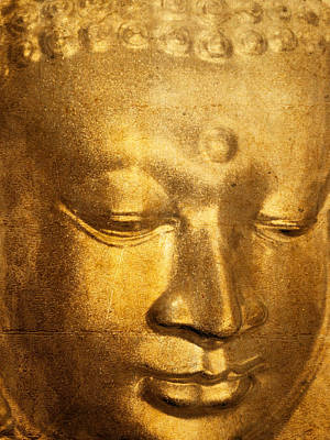 Digitized Image Photograph - Glass Buddha Head # 5 by Stuart Brown