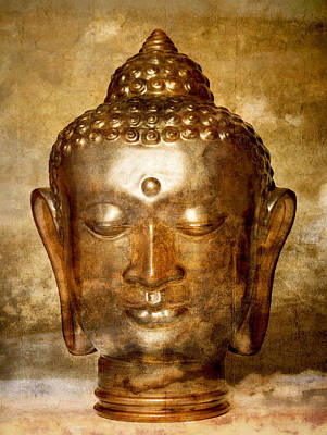 Digitized Image Photograph - Glass Buddha Head # 7 by Stuart Brown