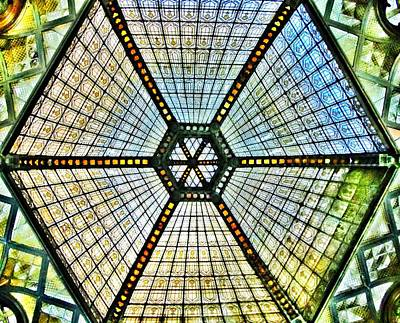 Budapest Hungary Photograph - Glass Ceiling Dome In Paris Court - Budapest - Hungary by Marianna Mills
