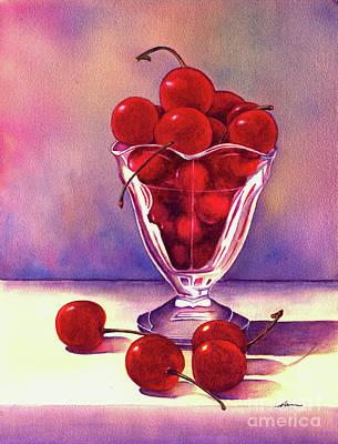 Glass Full Of Cherries Print by Nan Wright
