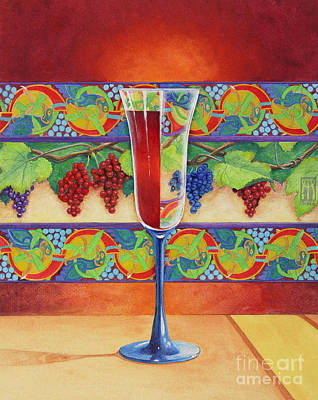 Glass Of Wine Mixed Media - Wine Glass Half Full by Melissa A Benson