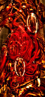 Abstract Photograph - Glass Macro Abstract Crimson by David Patterson
