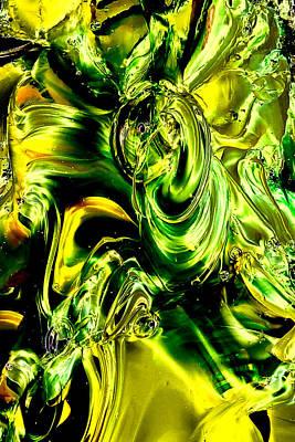 Abstract Photograph - Glass Macro Abstract - Greens And Yellows by David Patterson