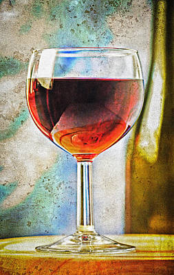Sauvignon Digital Art - Glass Of Red Wine by Marzia Giacobbe