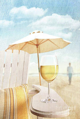 Glass Of  Wine On Adirondack Chair At The Beach Print by Sandra Cunningham