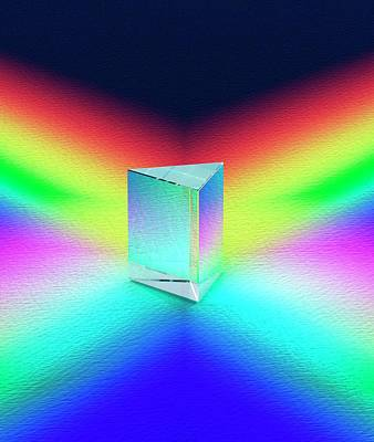 Glass Prism On Coloured Surface Print by David Parker