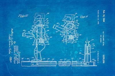 Glass Rock Em Sock Em Robots Toy Patent Art 3 1966 Blueprint Print by Ian Monk