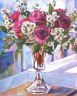 Window Sill Painting - Glass Roses by David Lloyd Glover