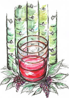 Glass Of Wine Mixed Media - Glass Rosy Wine by Teresa White