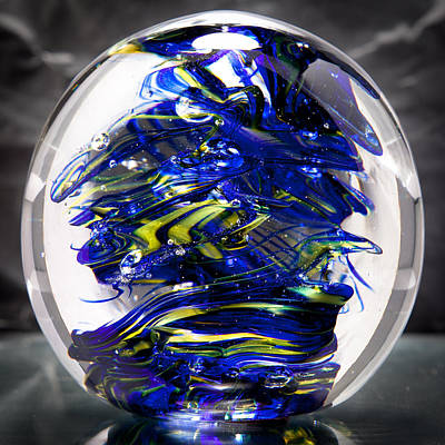 Glass Sculpture Cobalt Blue And Yellow - 13r2 Print by David Patterson