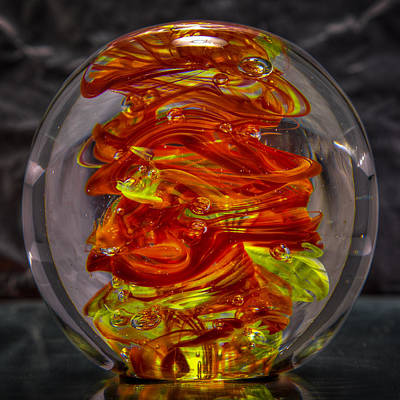 Abstract Sculpture - Glass Sculpture - Fire - 13r1 by David Patterson