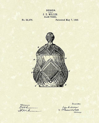 Glass Art Drawing - Glass Vessel 1895 Patent Art by Prior Art Design