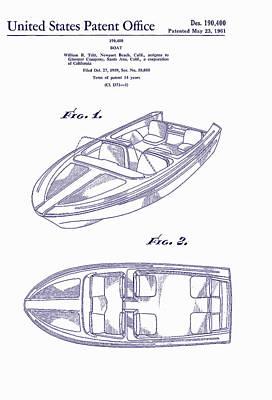 Glasspar 1960 California Boat Print by Georgia Fowler