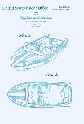 Glasspar 1960's California Boat Print by Georgia Fowler