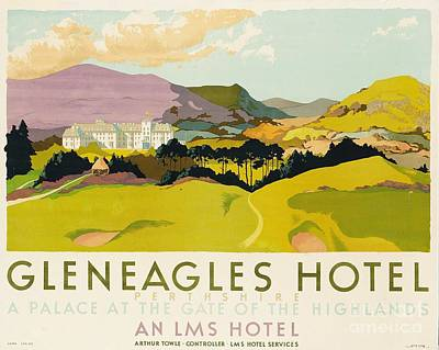 Graphic Drawing - Gleneagles Hotel Poster Advertising The Lms by English School