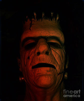Beauty Mark Photograph - Glenn Strange As Frankenstein Mask by Jim Fitzpatrick