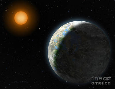 Planets Painting - Gliese 581 G by Lynette Cook