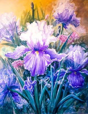 Print Of Irises Painting - Glimpse Of Spring I by Kirby McCarley