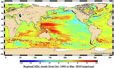 Data Photograph - Global Average Sea Levels by Esa/cls/cnes/legos