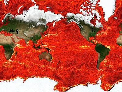 Simulation Photograph - Global Ocean Surface Currents Simulation by Nasa/ames (christopher Henze, Bron Nelson)