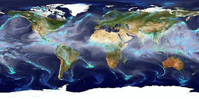 Simulation Photograph - Global Precipitation by William Putman/nasa Goddard Space Flight Center