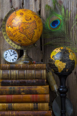 Globes And Old Books Print by Garry Gay