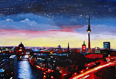 Gloomy Skyline Of Berlin Germany Print by M Bleichner