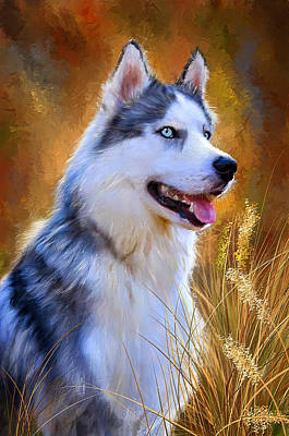 Book Cover Painting - Glorious Pride - Siberian Husky Portrait by Lourry Legarde