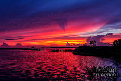 Glorious Sunset In Ocean City Maryland Print by Janet Barnes