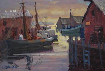 Fish Shacks Painting - Gloucester Fishing Boats by Len Stomski