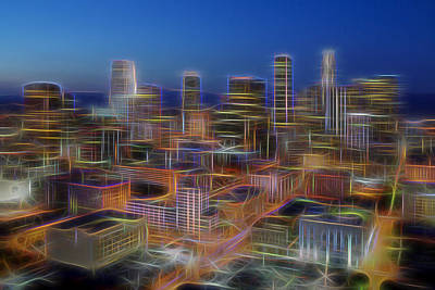 Los Angeles Skyline Photograph - Glowing City by Kelley King