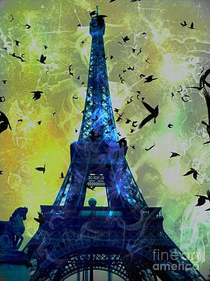 Epic Digital Art - Glowing Eiffel Tower by Marina McLain