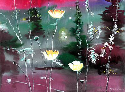Glowing Flowers Print by Anil Nene