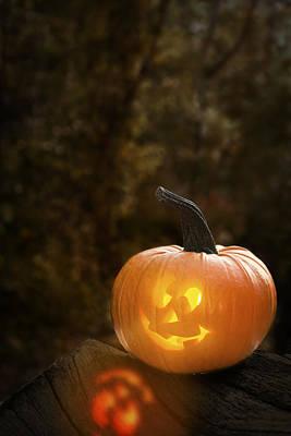 Jack-o-lantern Photograph - Glowing Pumpkin by Amanda Elwell