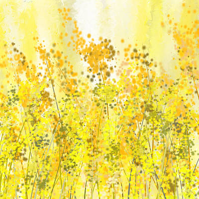 Glowing Spring- Yellow Abstract Art Painting by Lourry LegardeYellow Abstract Painting
