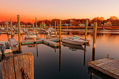 Glowing Start - Rhode Island Marina Sunset Warwick Marina  Print by Lourry Legarde