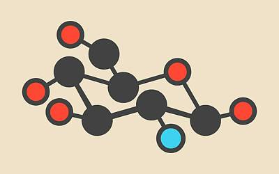 Glucosamine Dietary Supplement Molecule Print by Molekuul