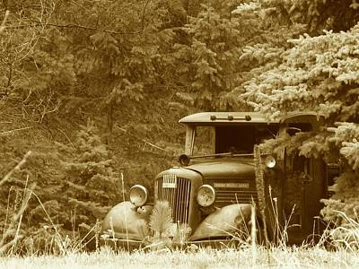 Gm Truck  Sepia Print by Steven Parker