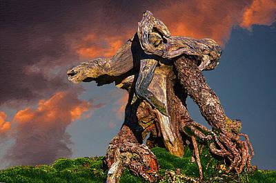 Composite Painting - Gnarled Tree Trunk At Sunset by John Haldane