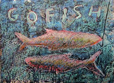 Collagraph Painting - Go Fish by Marita McVeigh