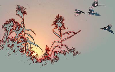 Magpies Digital Art - Go Home by JinWei Zheng