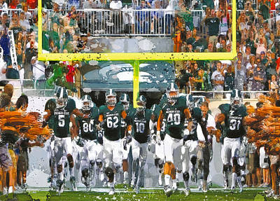 Michigan State Painting - Go Spartys Charge by John Farr
