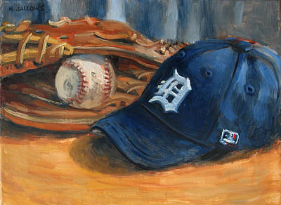 Baseball Cap Painting - Go Tigers by Nora Sallows