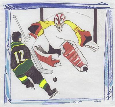 Nhl Ice Hockey Drawing - Shut Out By Jrr by First Star Art