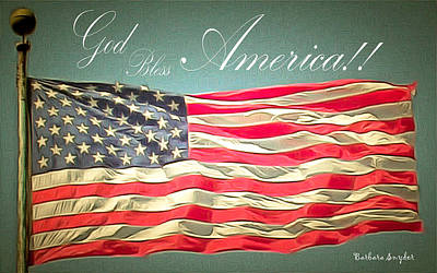 Waving Flag Painting - God Bless America 2 by Barbara Snyder