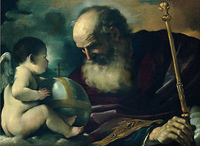 Angel Art Painting - God The Father And Angel by Guercino